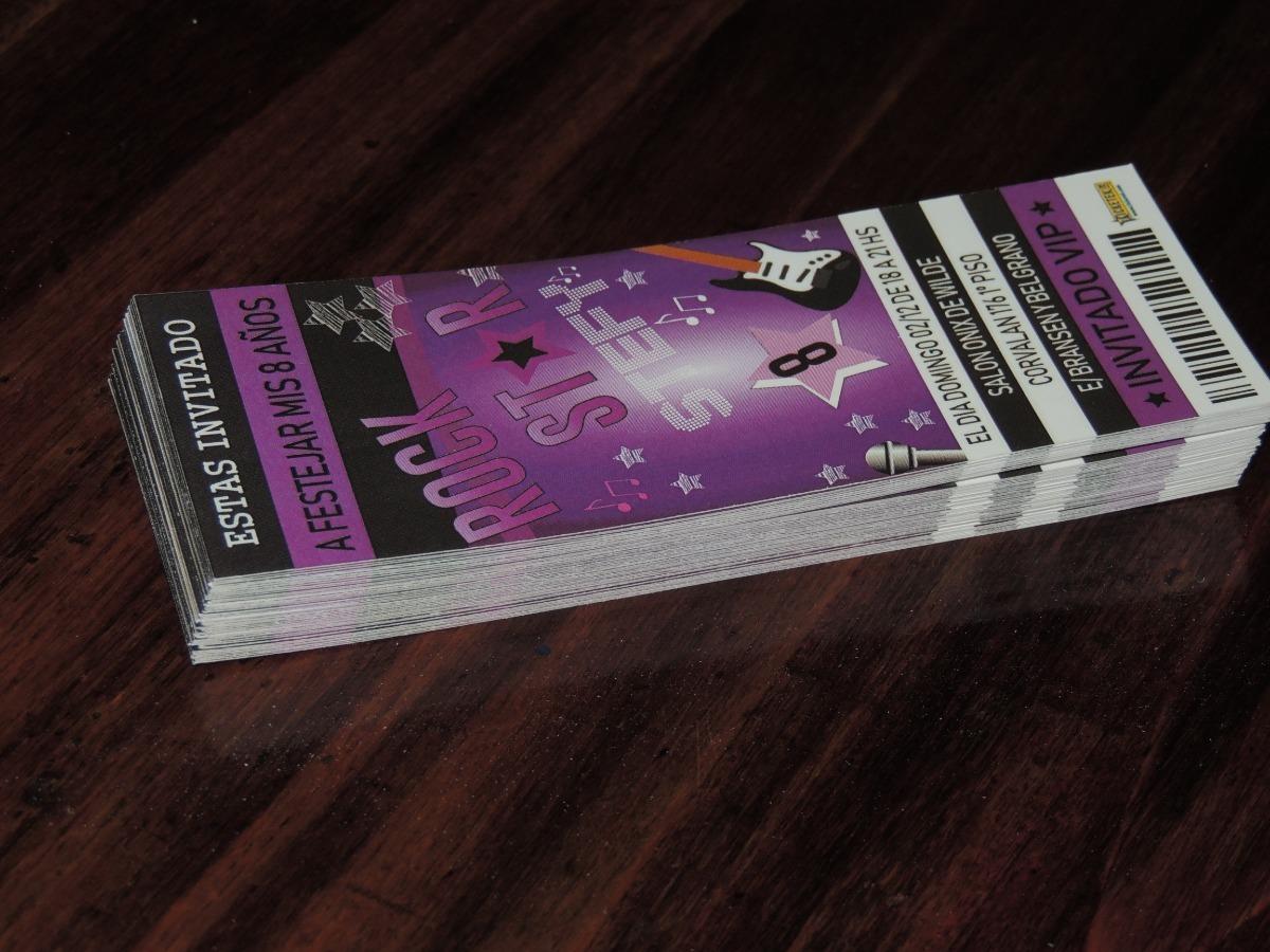 Tarjeta Invitación Cumpleaños Ticketek Entrada Rock Star
