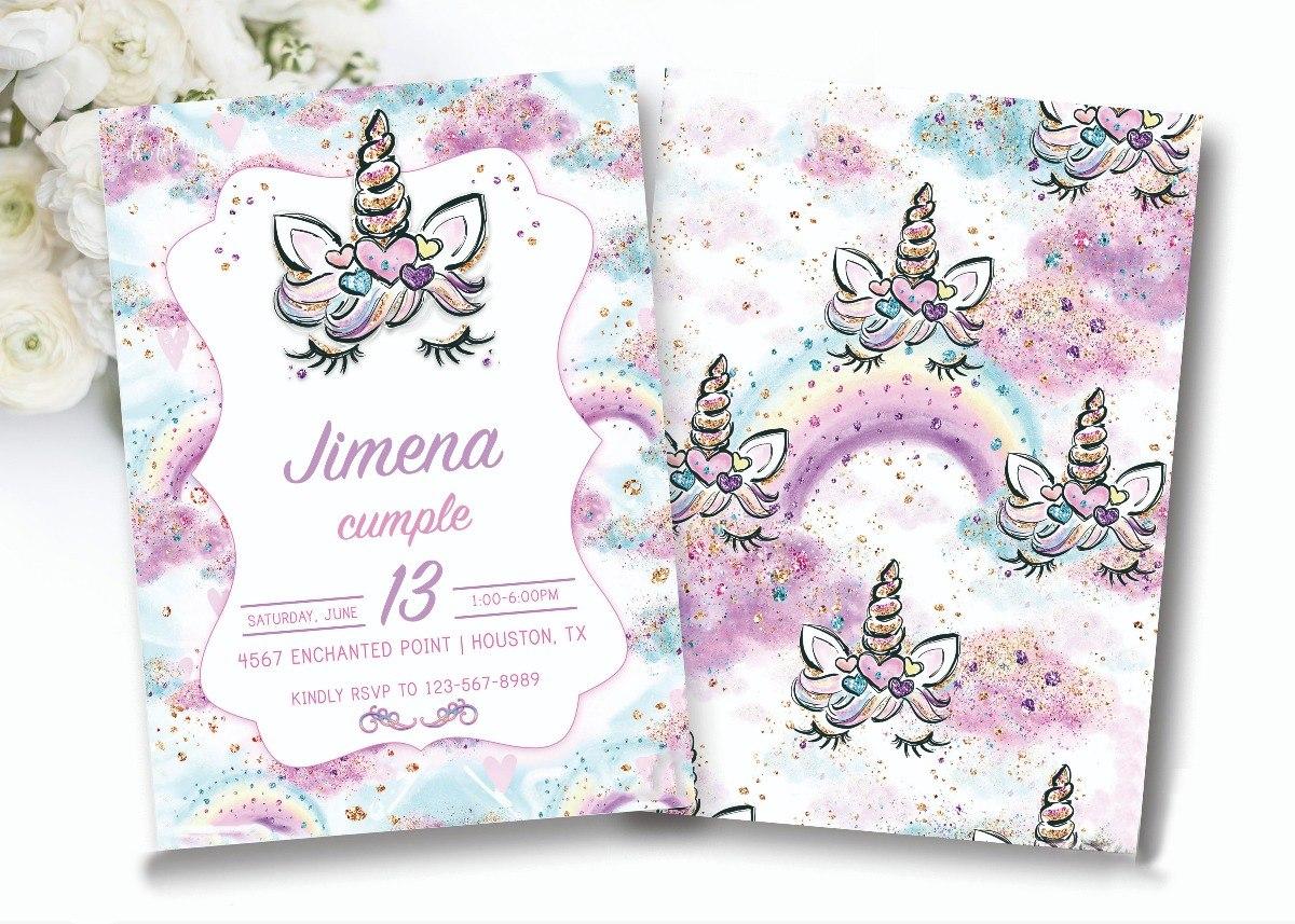 Tarjeta Invitacion Cumpleaños Unicornio Imprimible Editable