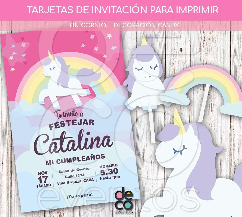 Tarjeta Invitación Cumpleaños Unicornio P Imprimir Candy