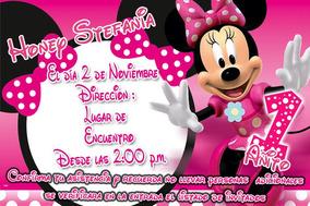 Tarjeta Invitacion Cumpleaños Minnie Personalizadas