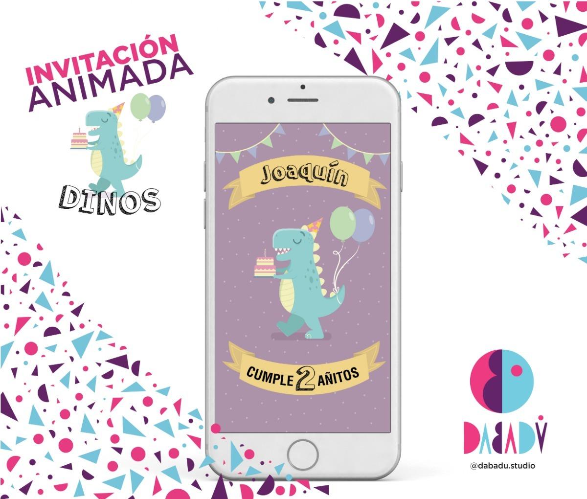 Tarjeta Invitación De Cumpleaños Digital Animada Dinosaurios