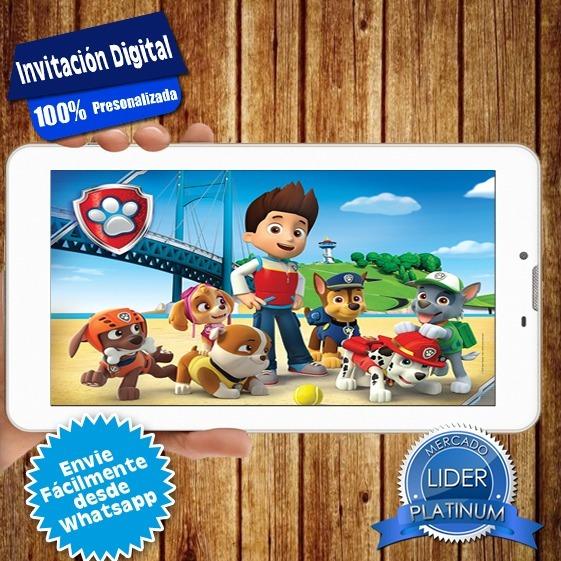 Tarjeta Invitacion Digital Cumpleaños Patrulla Canina Video