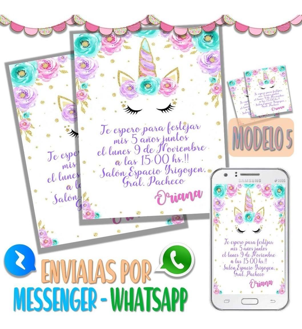 Tarjeta Invitacion Digital Cumpleaños Unicornio Whatsapp M5