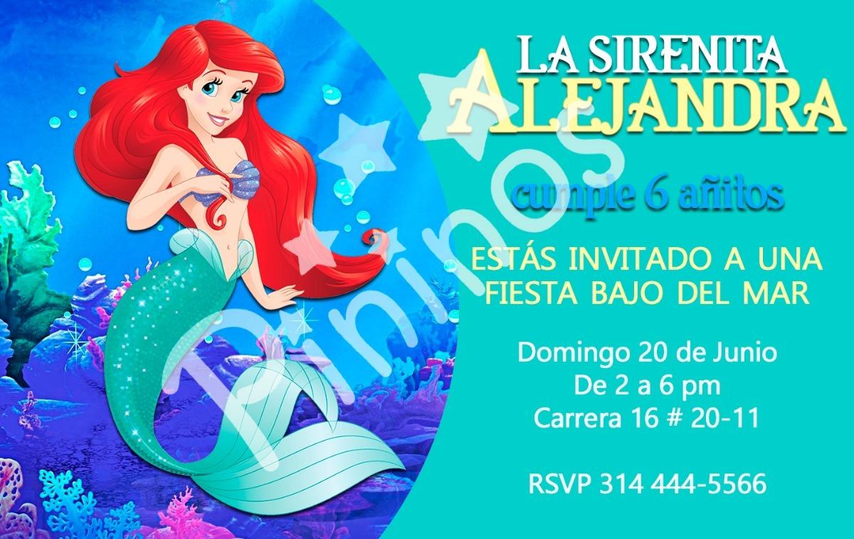Sirenita Tarjeta De Invitación Tarjetas De Invitación
