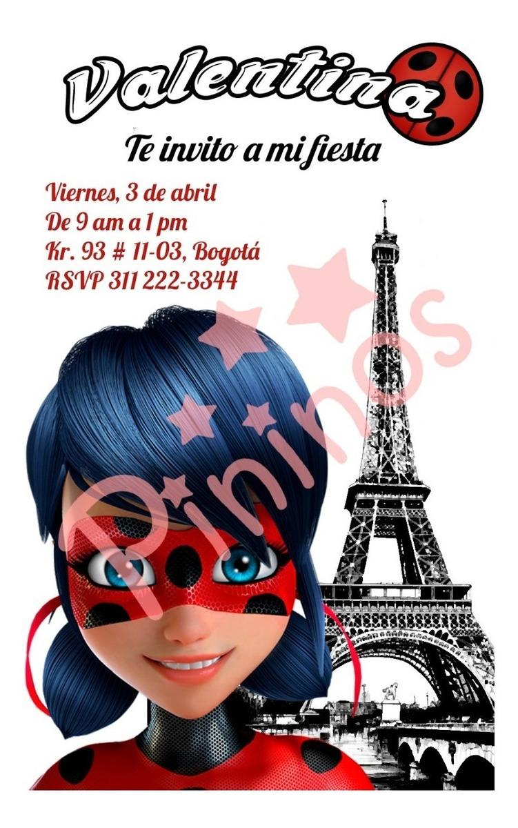 Tarjeta Invitación Digital Fiesta Miraculous Ladybug