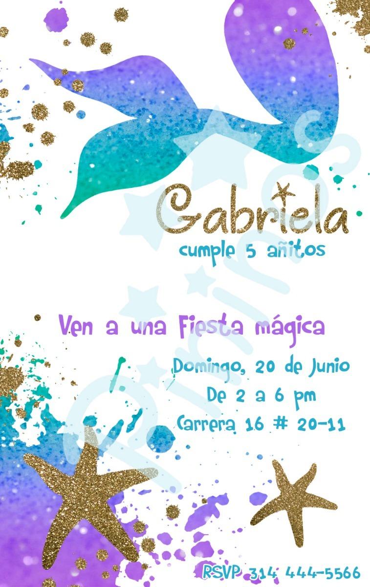 Tarjeta Invitación Digital Fiesta Sirenas O Sirenita