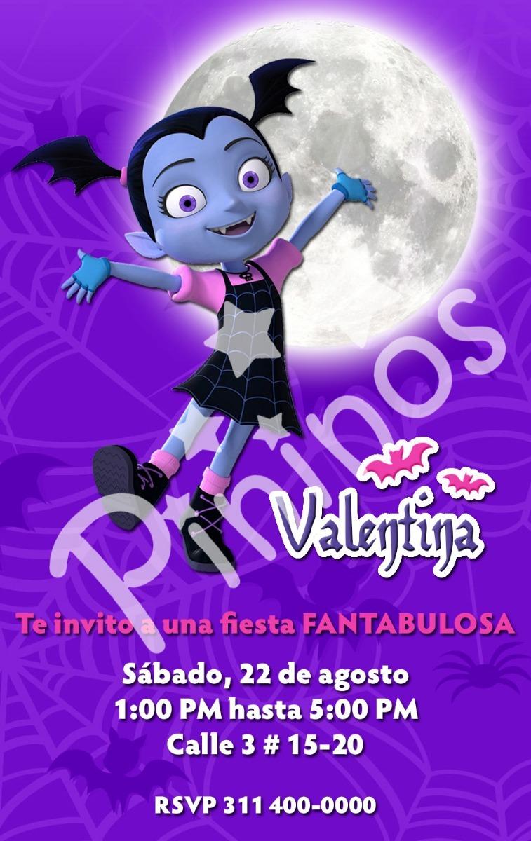 Tarjeta Invitación Digital Fiesta Vampirina Disney Junior