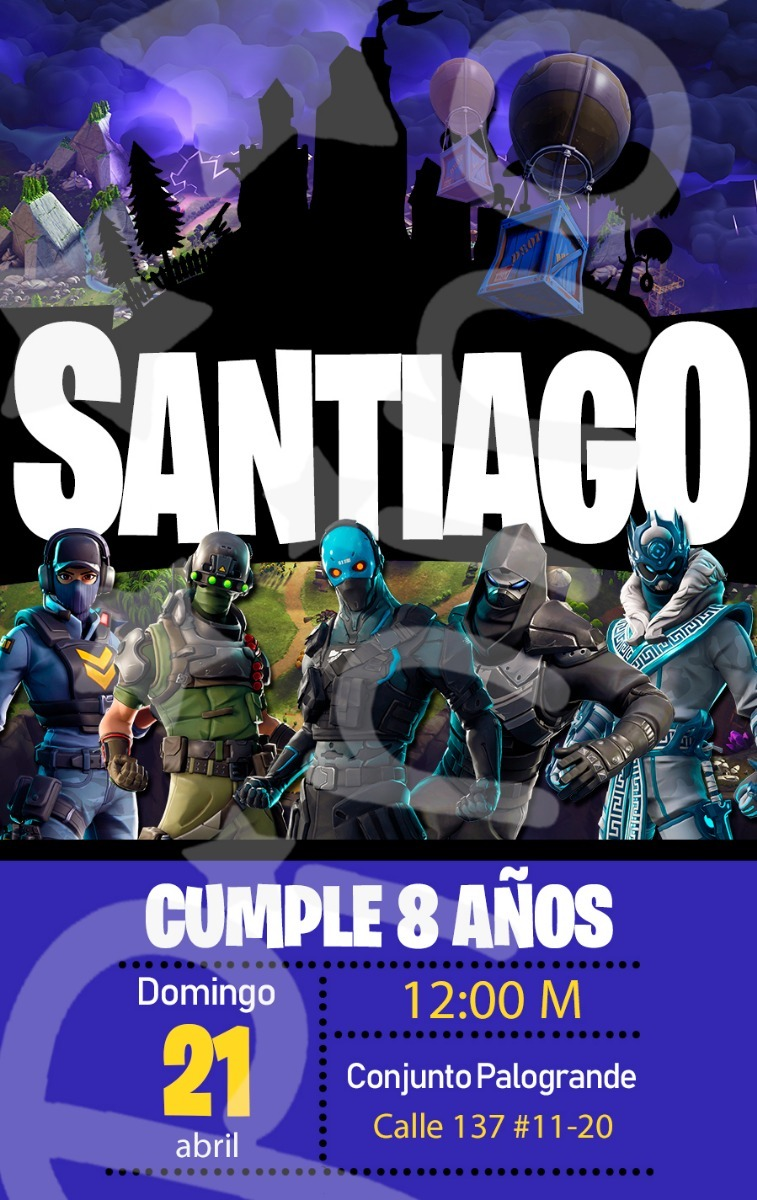 Tarjeta Invitación Digital Fortnite Battle Royale