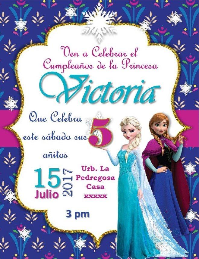 Tarjeta Invitacion Digital Frozen Disney