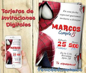Tarjeta Invitacion Digital Hombre Araña Spiderman Cumpleaños