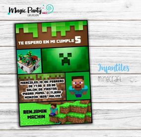 Tarjeta Invitación Digital Minecraft