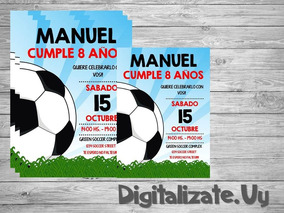 Tarjeta Invitacion Digital Para Cumpleaños De Futbol