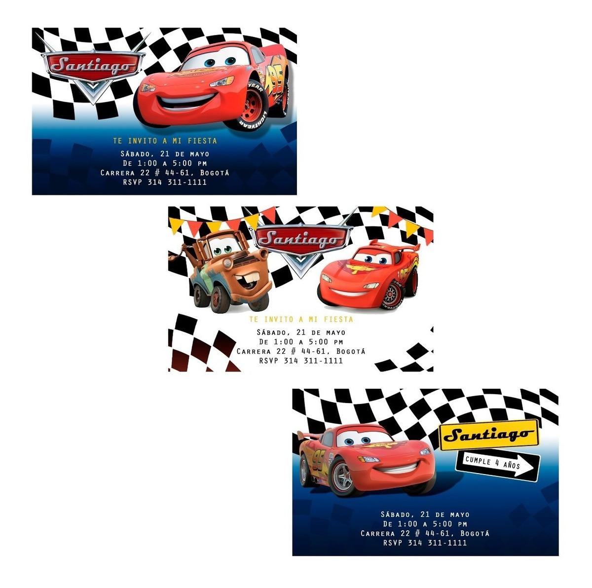 Tarjeta Invitación Digital Para Fiesta Cars Rayo Mcqueen