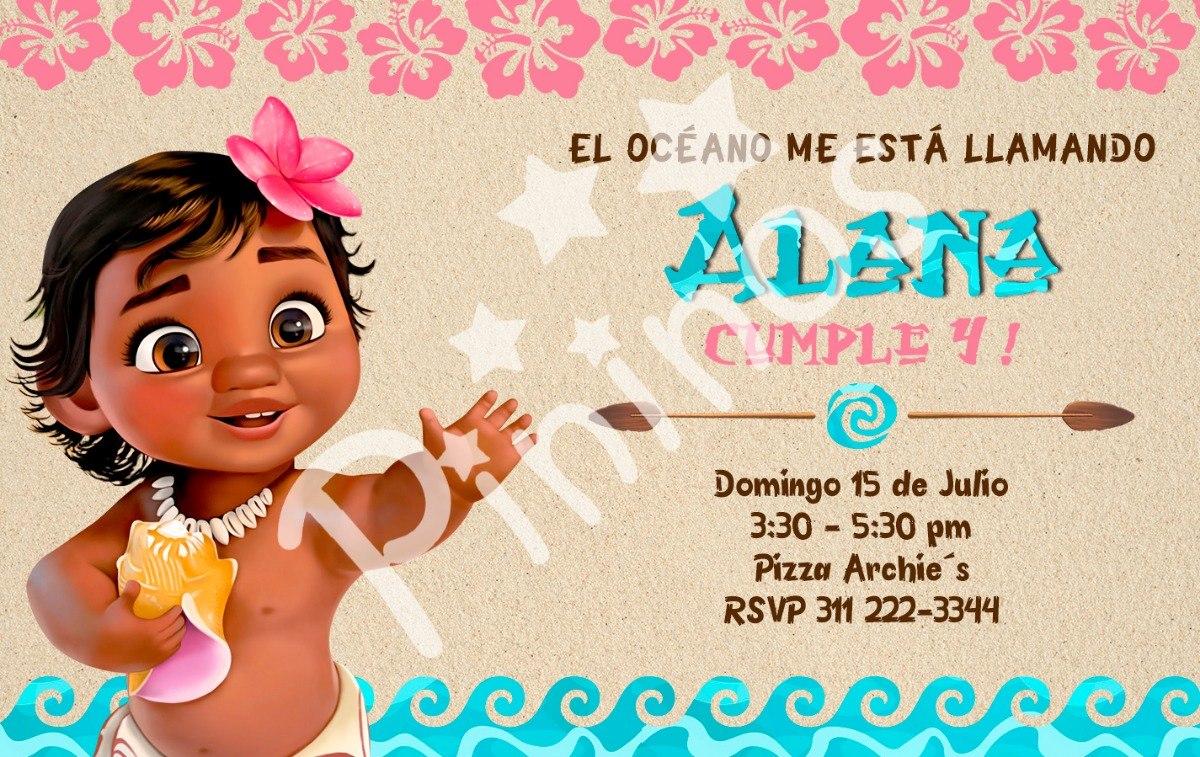 Tarjeta Invitación Digital Para Fiesta Moana Disney