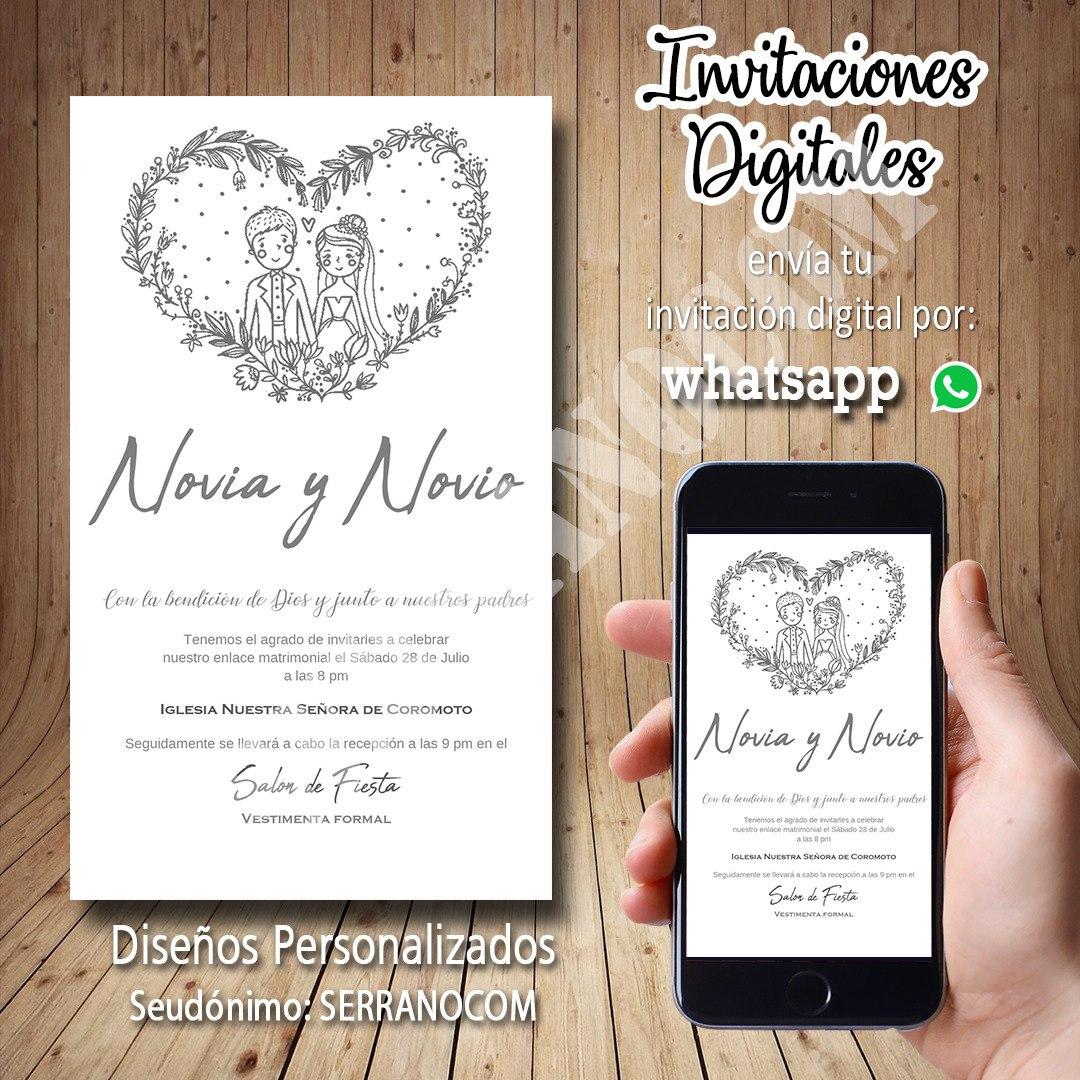 Tarjeta Invitación Digital Personalizada Para Bodas