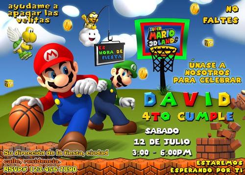 Invitaciones Mario Bros Personalizadas Cumpleanos Mercado