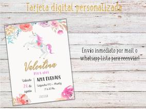 Tarjeta Invitación Digital Personalizada Unicornios Nena