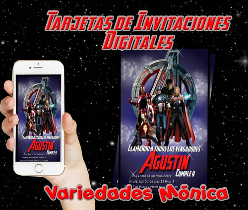 tarjeta invitación digital personalizadas vengadores avenger