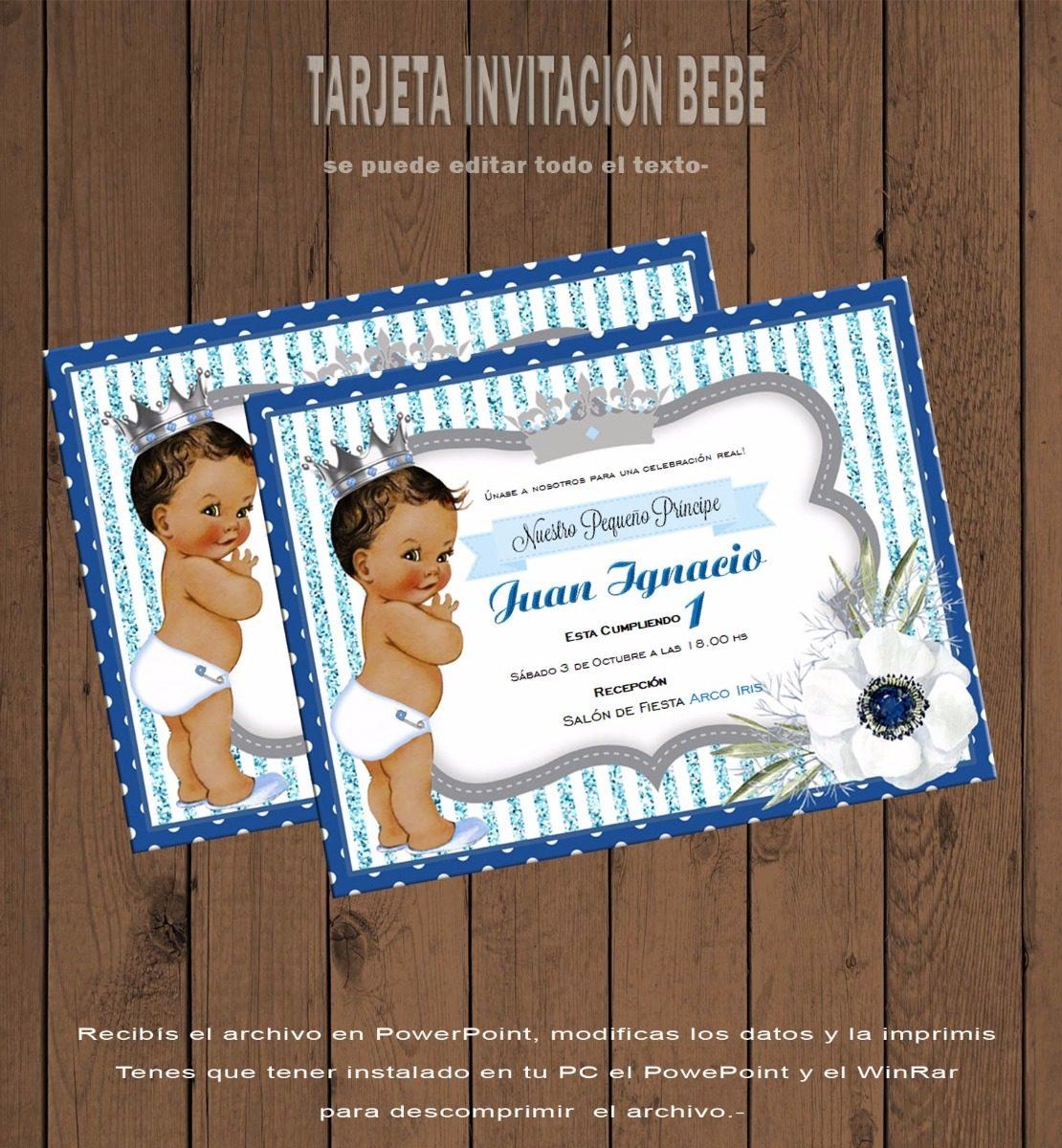 Tarjeta Invitación Editable Cumpleaños Bebe