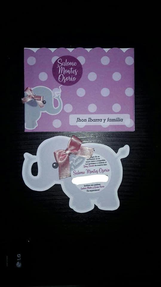 869c388ade5c1 Tarjeta Invitación Elefante Para Baby Shower -   2.500 en Mercado Libre