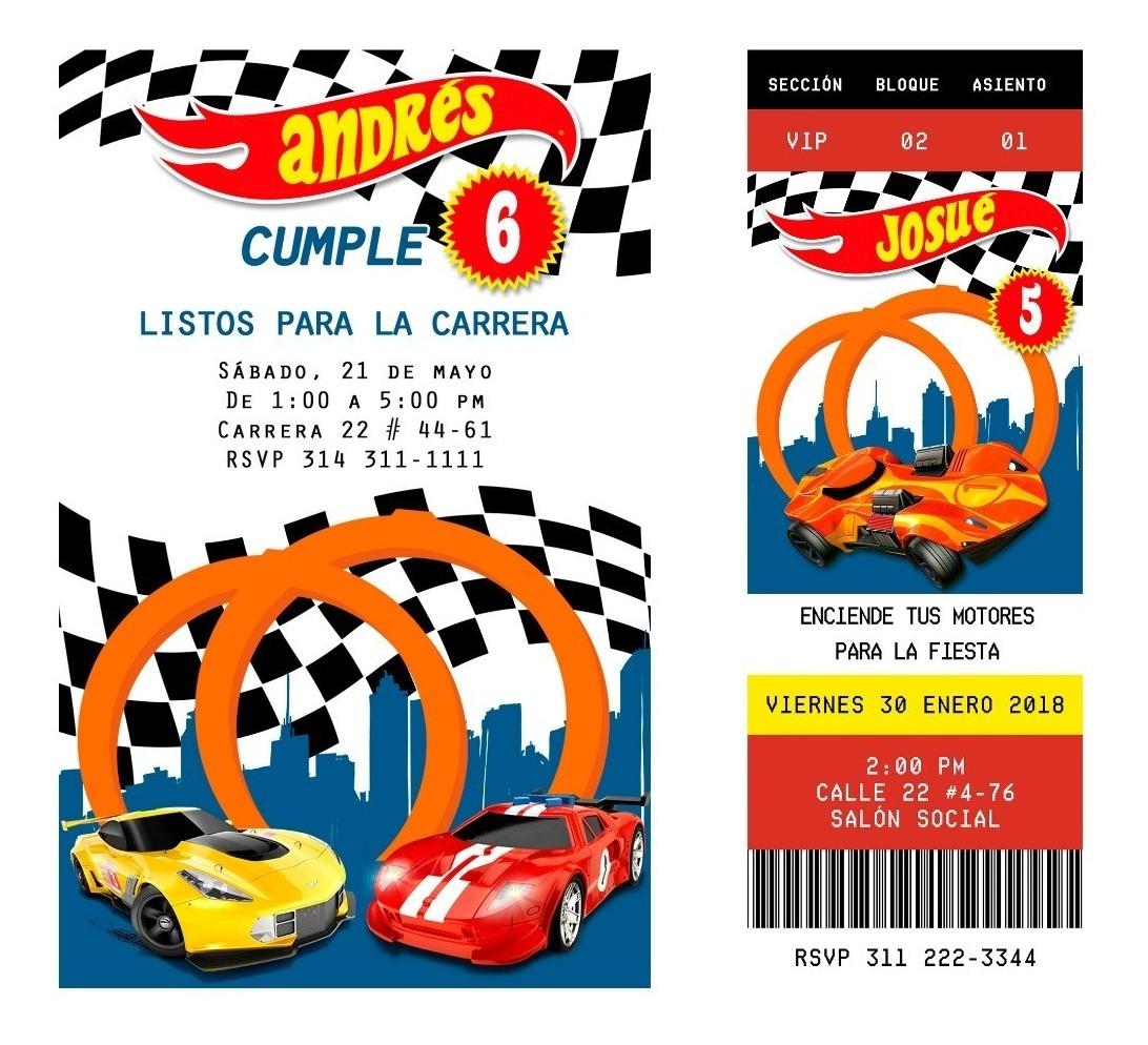 Tarjeta Invitación Digital Fiesta Hot Wheels Carros Carreras