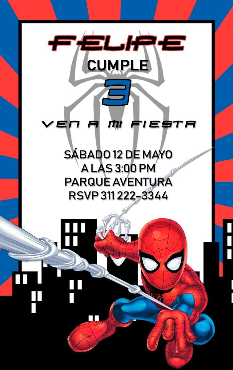 Tarjeta Invitación Digital Fiesta Spider Man Hombre Araña