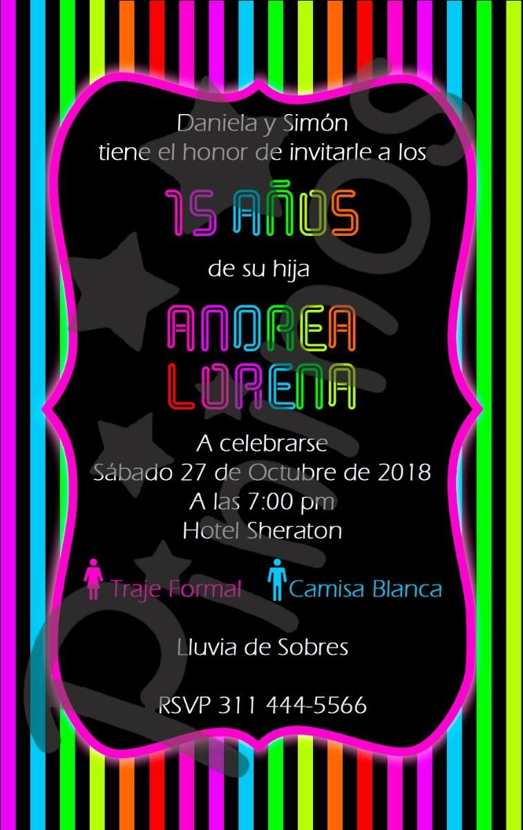 Tarjeta Invitación Digital Fiesta Neón Quince Años