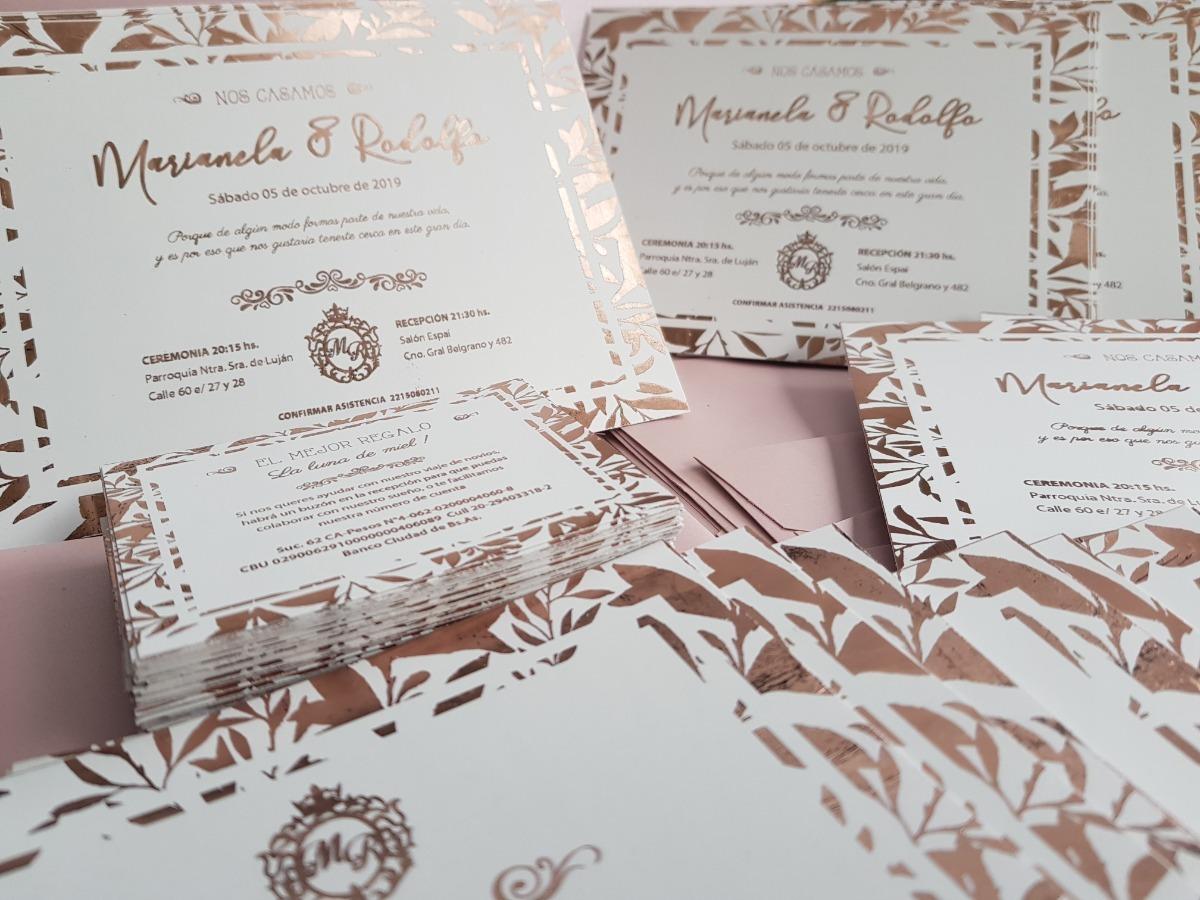 Tarjeta Invitacion Foil Rose Gold Boda Casamiento Novios