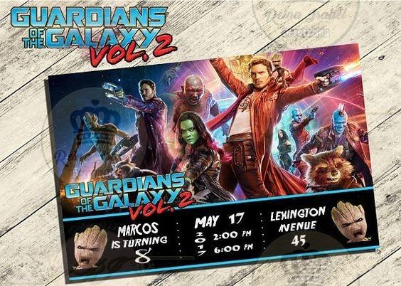 Tarjeta Invitacion Guardianes De La Galaxia Avengers Cumple