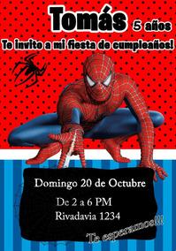 Tarjeta Invitacion Hombre Araña Spiderman Digital Cumpleaños