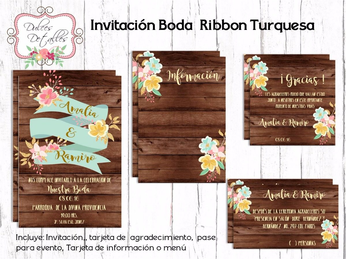 Tarjeta Invitacion Imprimible Editable Para Boda 12