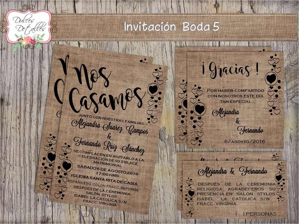 Tarjeta Invitación Imprimible Editable Para Boda 3