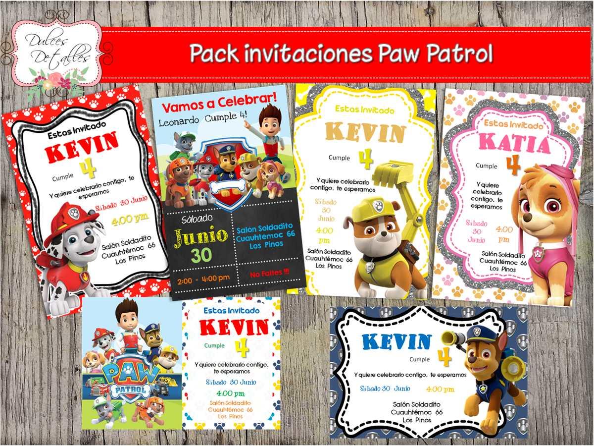 Tarjeta Invitacion Imprimible Editable Paw Patrol