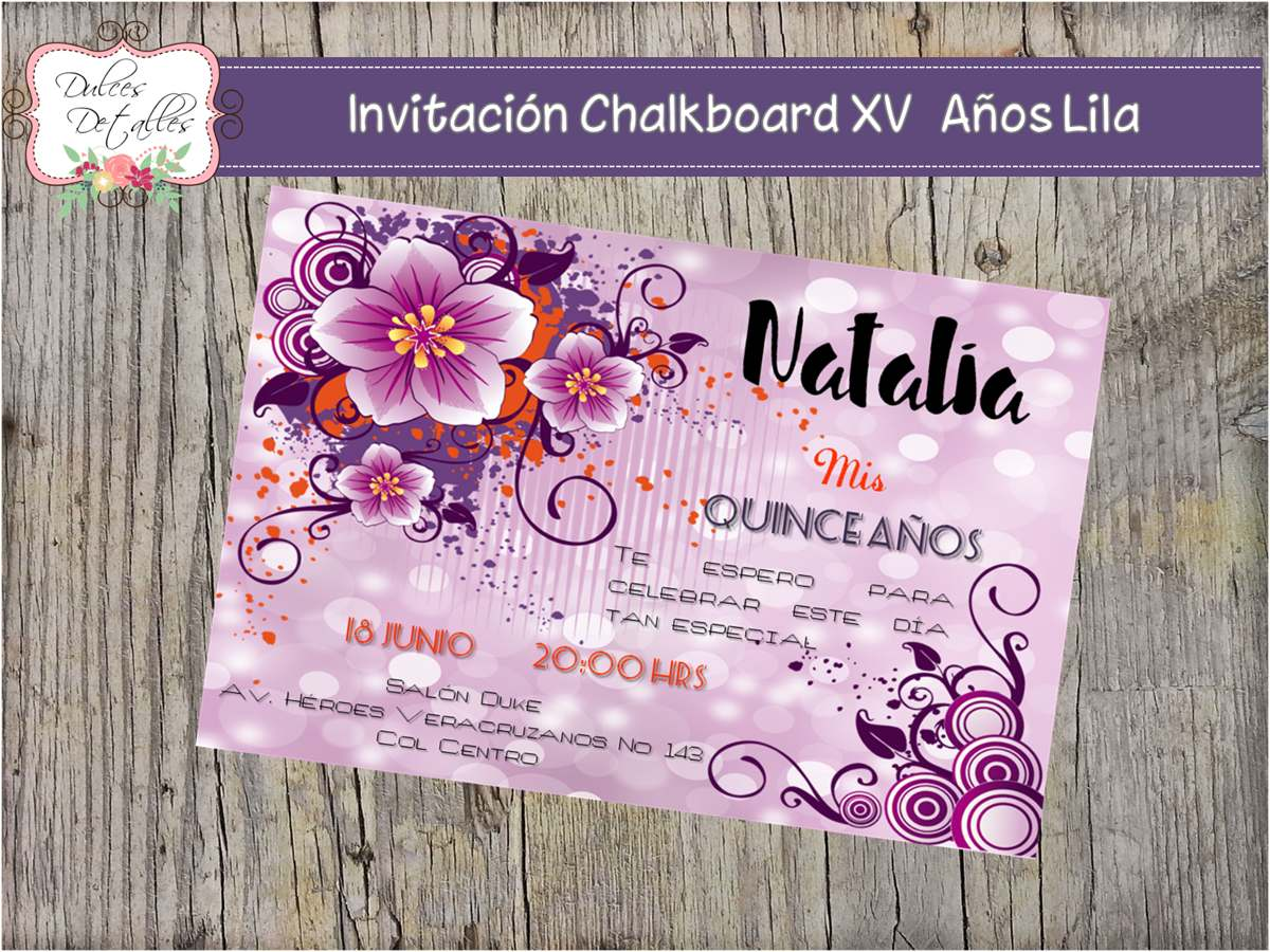 Tarjeta Invitación Imprimible Editable Quince Años Lila