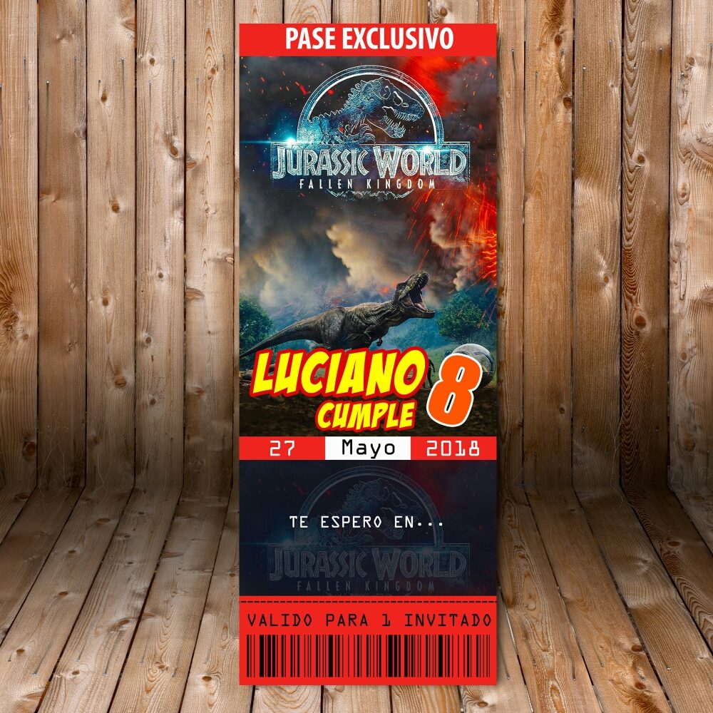 Tarjeta Invitacion Imprimible Kit Jurassic Park