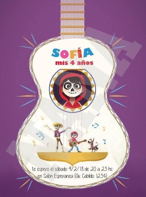 Tarjeta Invitacion Imprimible Personalizada Coco Cumpleaños