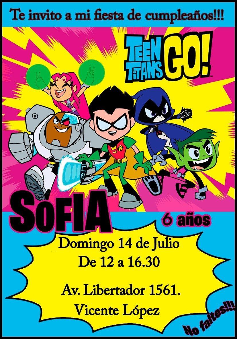 Tarjeta Invitacion Jovenes Titanes Digital Cumpleaños