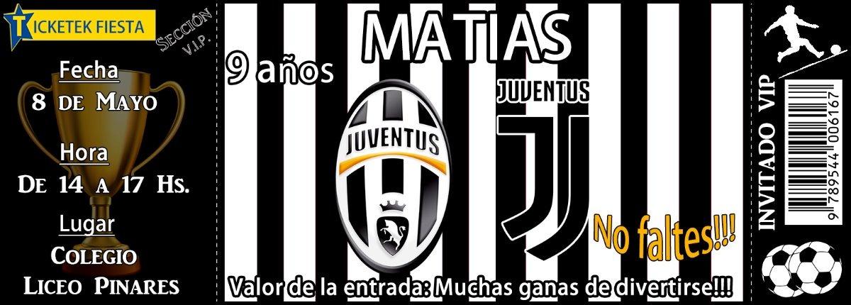 Tarjeta Invitacion Juventus Futbol Ticket Impresa