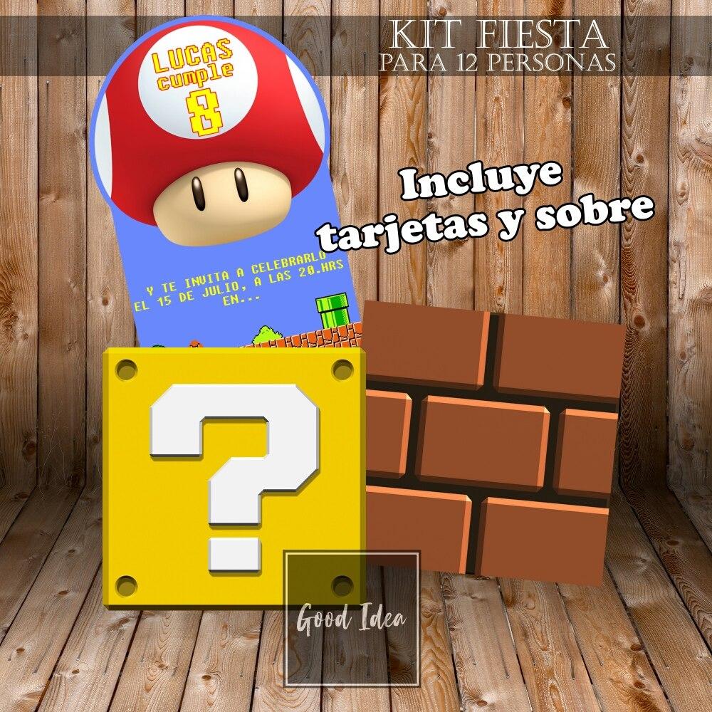 Tarjeta Invitacion Mario Bros X12 Kit Cumpleaños