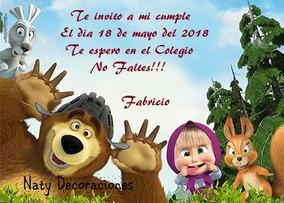 Tarjeta Invitacion Masha Y El Oso