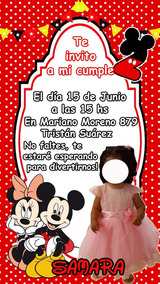 Tarjeta Invitacion Mickey Minnie Digital Imprimible Whatsapp
