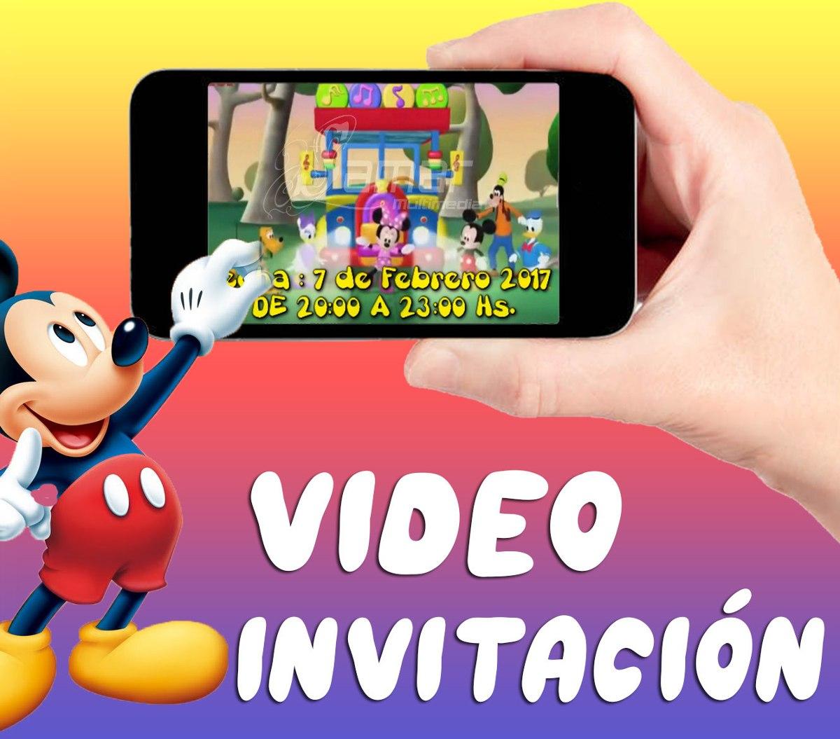 Tarjeta Invitación Mickey Whatsapp Facebook