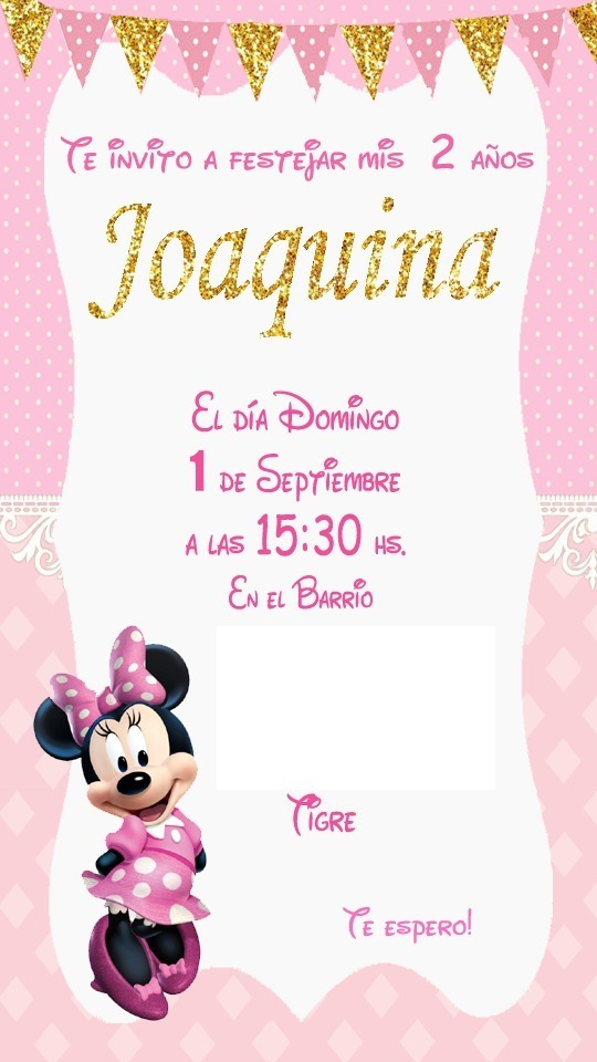 Tarjeta Invitacion Minnie Rosa Digital Imprimible Whatsapp