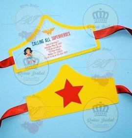 Tarjeta Invitacion Mujer Maravilla Cumpleaños Super Heroe