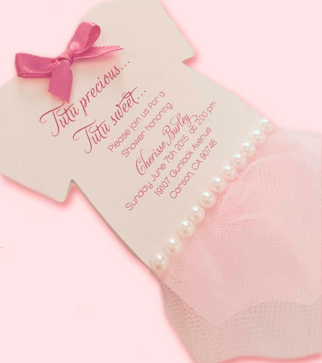 8ecab7ae92a83 Tarjeta Invitación Para Baby Shower Bailarina -   2.500 en Mercado Libre