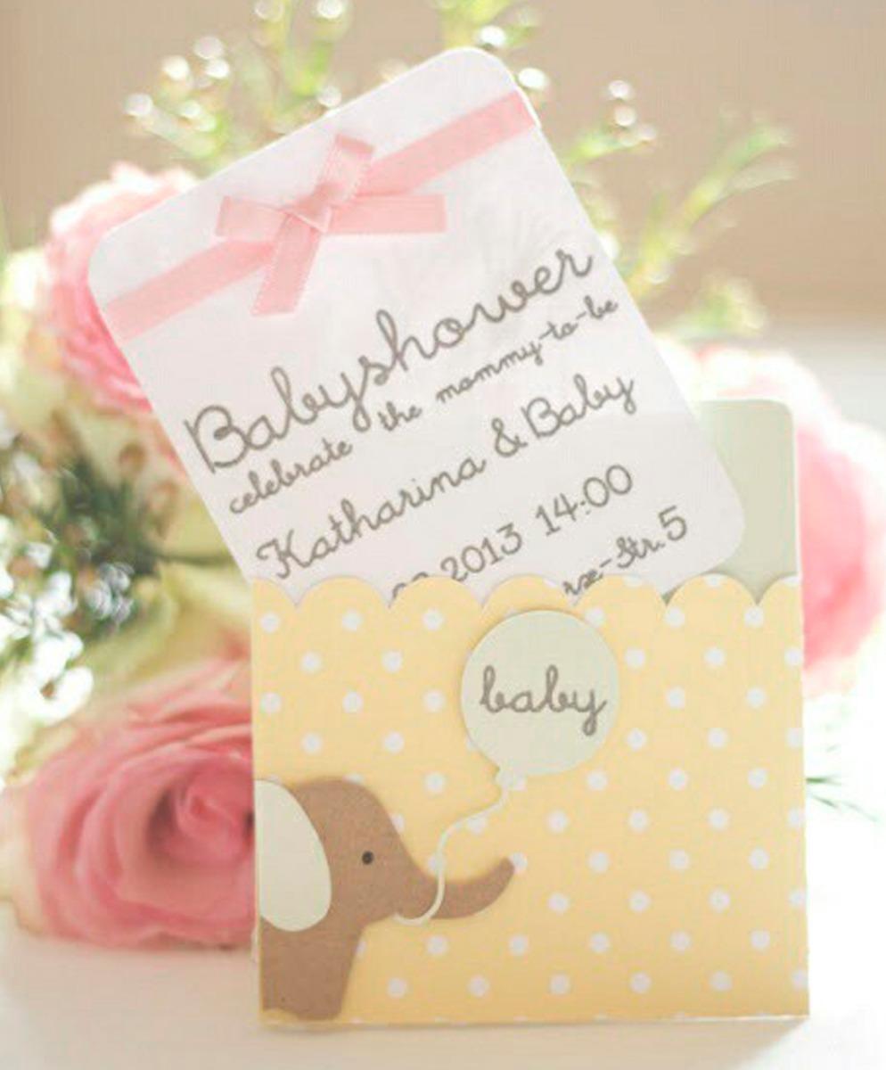 3b340af67cd2a Tarjeta Invitación Para Baby Shower Elefante Rosa -   2.500 en ...