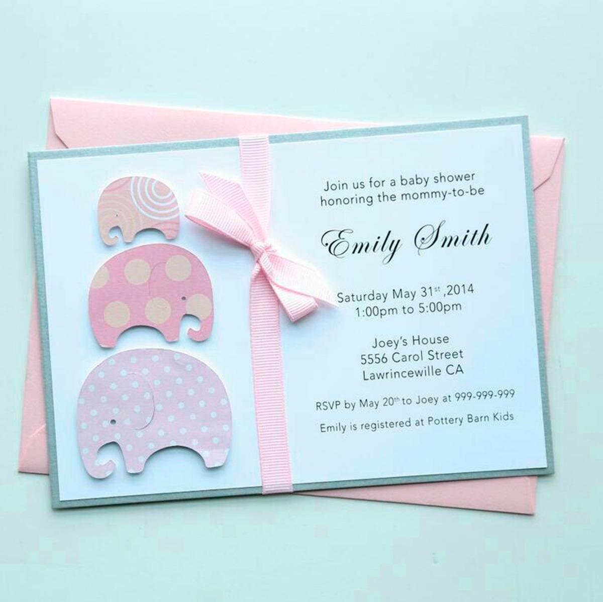 5bc27f7e91a9d Tarjeta Invitación Para Baby Shower Elefante Rosa -   1.300 en ...
