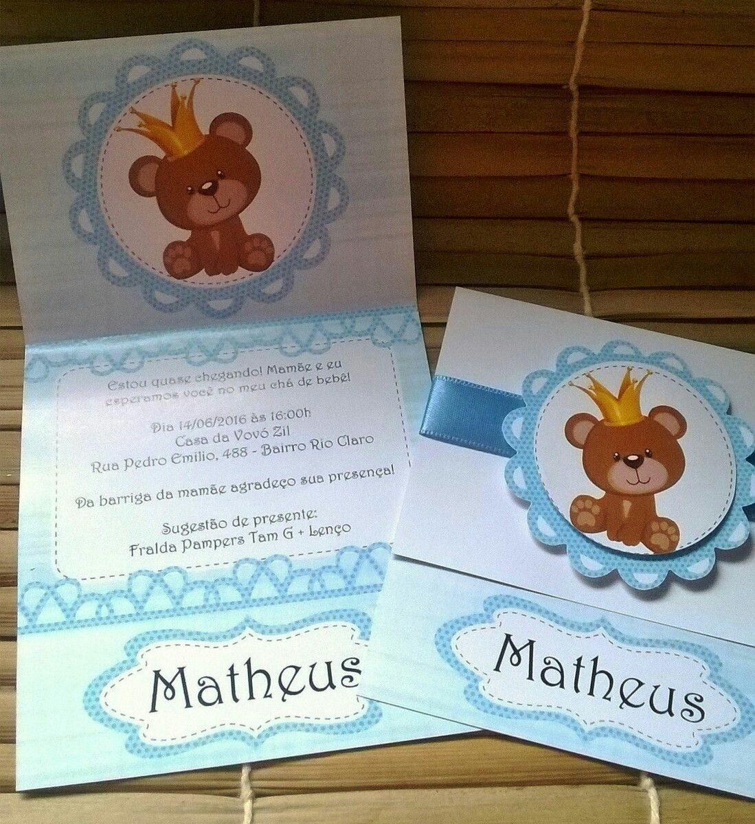 Tarjeta Invitación Para Baby Shower Osito