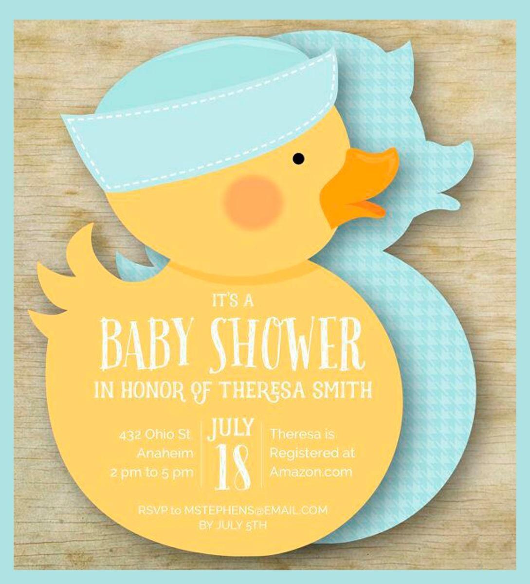 Tarjeta Invitación Para Baby Shower Patito