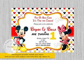 Tarjeta Invitación Para Cumpleaños Mickey Y Minnie Mause